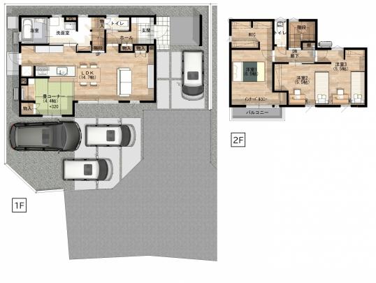 3LDK+畳コーナー(書斎付き)。 収納力豊富なユーティリティ室やWIC完備。 2階インナーバルコニーは室内物干で外からの視線が気にならない。