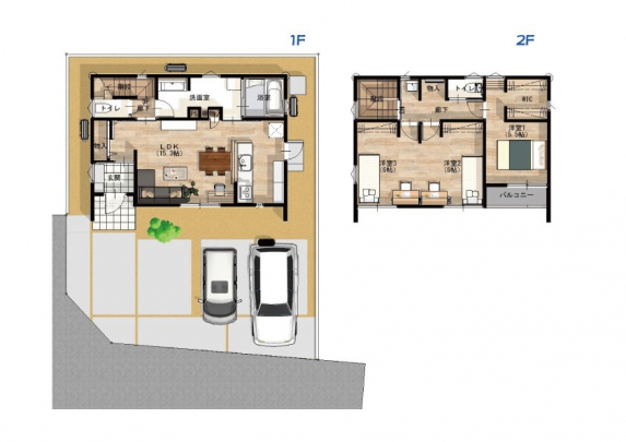 3LDK。 収納力豊富なユーティリティ室やWIC完備。らくらく家事動線です。