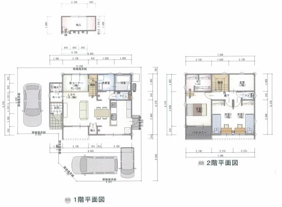 4LDK+S。WICや納戸などの豊富な収納力。個室の書斎にスキップ畳コーナーと見所満載のプランです。